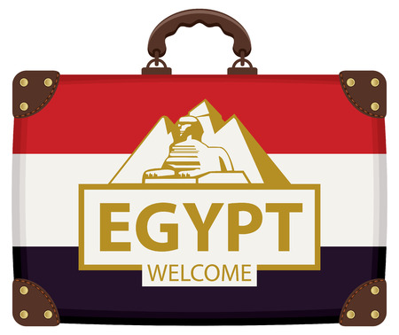 Vector travel banner with suitcase in colors of Egyptian flag with the pyramids, the sphinx and inscription Egypt welcome