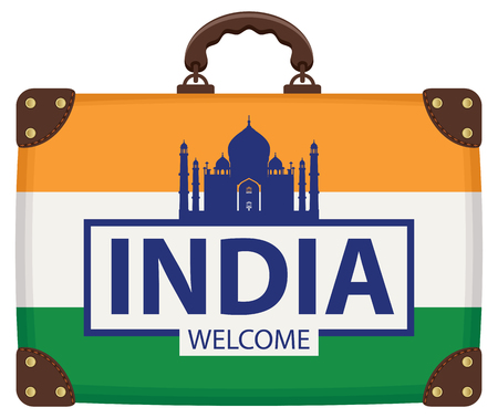 Vector travel banner with suitcase in colors of Indian flag with the Taj Mahal and inscription India welcome