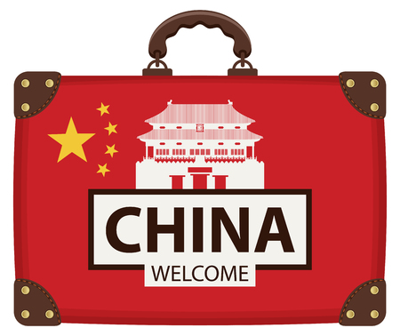 Vector travel banner with suitcase in colors of Chinese flag with the Famous Forbidden city in Beijing, China. The inscription China welcome