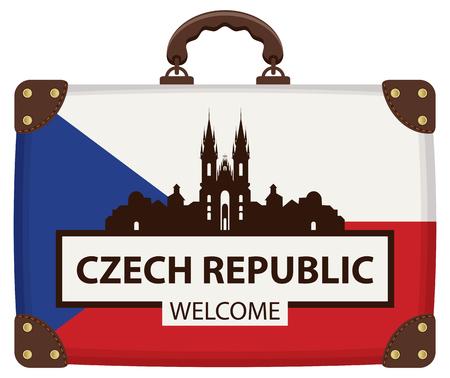 Vektorreisebanner mit Koffer in den Farben der tschechischen Flagge mit der berühmten Kirche Unserer Lieben Frau vor Tyn in Prag, Tschechische Republik. Die Inschrift Tschechische Republik willkommen Vektorgrafik