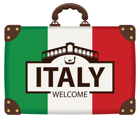 Vector travel banner with suitcase in colors of Italian flag with famous Ponte di Rialto and the gondola in Venice, Italy. The inscription Venice welcome Ilustração