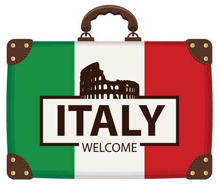 Vector travel banner with suitcase in colors of Italian flag with Ancient amphitheater Colosseum in Rome, Italy, the Italian national landmark. The inscription Italy welcome