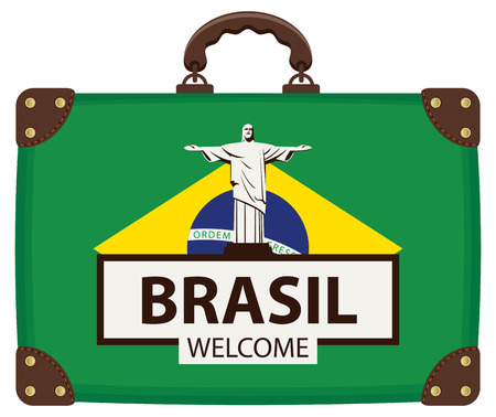 Vector travel banner with suitcase in colors of Brazilian flag with the statue of Christ the Redeemer in Rio de Janeiro, Brazil. The inscription Brazil welcome