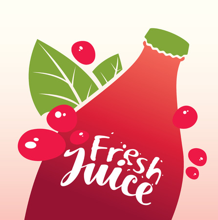 Vector banner with bottle, green leaves and inscription fresh juice Illustration