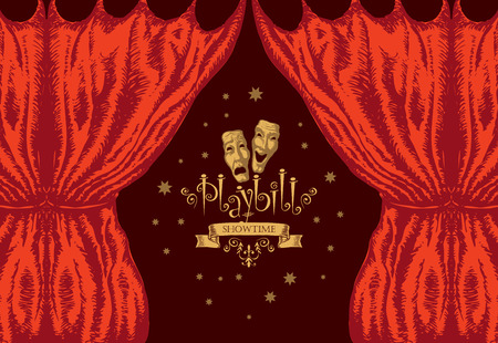 Vector playbill with red theater curtain and theater masks in retro style. Hand-drawn illustration on the theme of modern theatrical art Vector Illustration