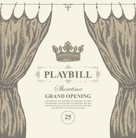 Vector playbill with place for text, theater curtain and crown in retro style. Hand-drawn illustration on the theme of modern theatrical art, grand opening