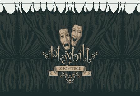 Cartel de vector con una cortina de teatro y máscaras de teatro en estilo retro. Ilustración dibujada a mano sobre el tema del arte teatral moderno.