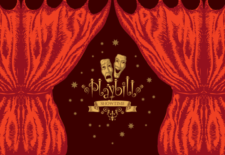 Vector playbill with red theater curtain and theater masks in retro style. Hand-drawn illustration on the theme of modern theatrical art Illustration