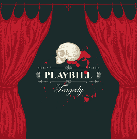 Vector playbill with calligraphic inscription Tragedy, red theater curtain and white human skull in retro style. Hand-drawn illustration on the theme of modern theatrical art Illustration