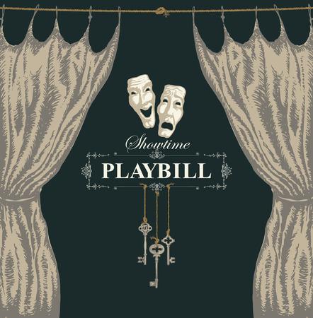 Cartel de vector con una cortina de teatro y máscaras de teatro en estilo retro. Ilustración dibujada a mano sobre el tema del arte teatral moderno