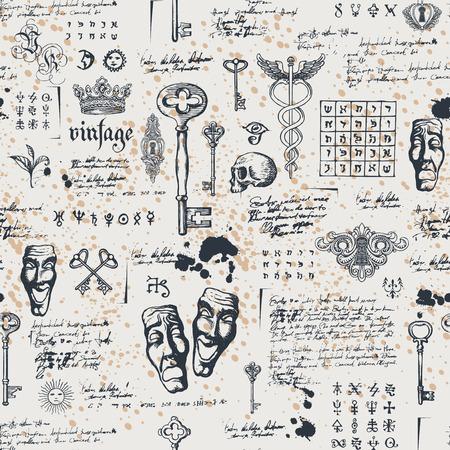 Vektor nahtloses Muster zum Thema Theater und Drama mit Zeichnungen von Theatermasken, Vintage-Schlüsseln und Schriftzug. Retro Tapete, Geschenkpapier oder Hintergrund für Textilien mit Skizzen und Flecken