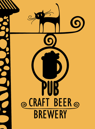 Vector banner for beer pub with a street sign, a black cat and with words Craft beer, Brewery Illustration