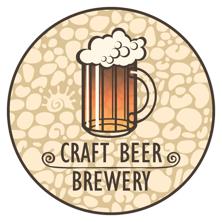 Vector label, banner or a coaster for beer with words Craft beer, Brewery and with an overflowing glass of frothy beer on background of stone wall in round frame