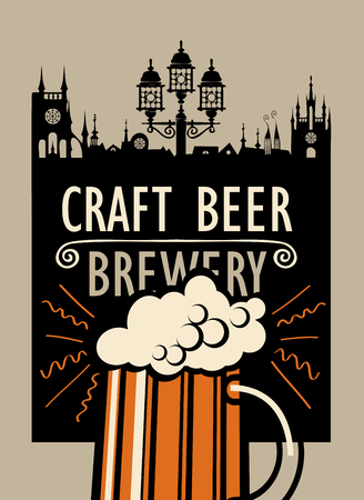 Vector banner with overflowing glass of frothy beer and with words Craft beer, Brewery on the background of old city in a retro style Çizim
