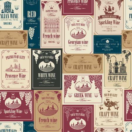 Vector seamless pattern on the theme of wine with various wine labels with images of grapes, landscapes, winery, castles, sailboats, fruits and other in retro style Ilustração Vetorial