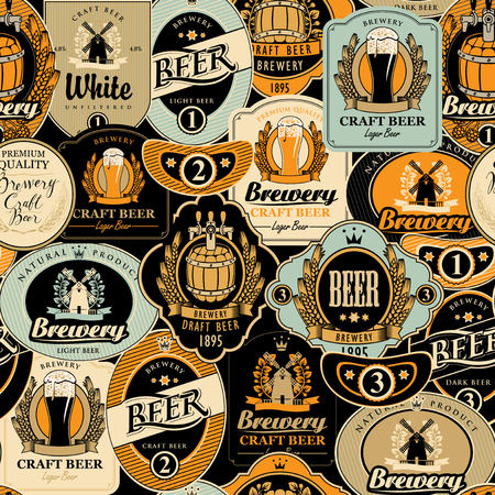 Vector seamless pattern on the theme of beer with various beer labels with images of barrels, beer glasses, mills, laurel wreathes, ears of wheat and other in retro style