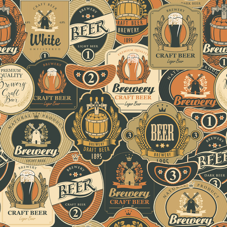 Vector seamless pattern on the theme of beer with various beer labels with images of barrels, beer glasses, mills, laurel wreathes, ears of wheat and other in retro style Banque d'images - 105326508