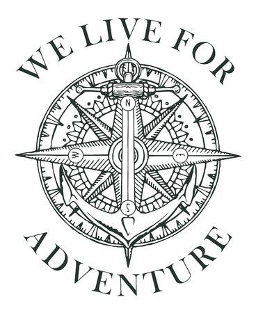 Bannière rétro avec ancre de navire, rose des vents et vieille boussole nautique avec des mots Nous vivons pour l'aventure. Conception d'illustration, de logo ou de t-shirt Vector noir et blanc sur le thème du voyage et de la découverte
