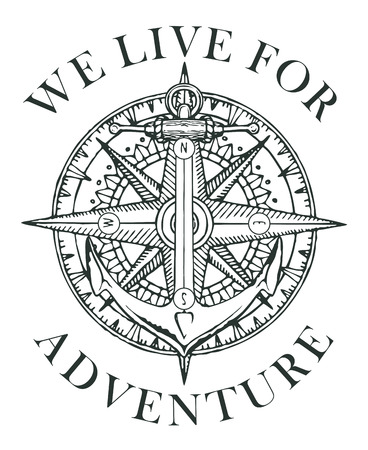 Retro banner with ship anchor, wind rose and old nautical compass with words We live for adventure. Vector black and white illustration, logo or t-shirt design on the theme of travel and discovery Illustration