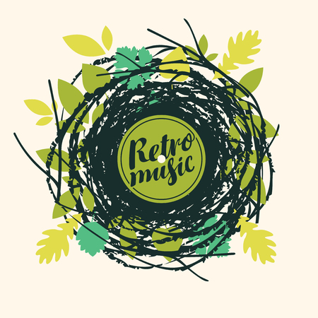 Vector poster or banner with calligraphic inscription Retro music on abstract background in retro style with scribbles and green leaves