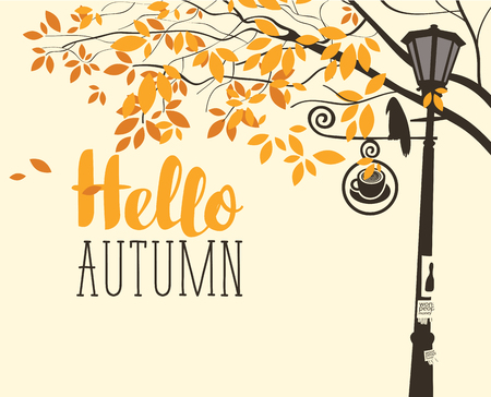 Vector banner in retro style on the fall theme with the inscription Hello autumn. Autumn landscape with tree branches, a crow on the lamp post and street sign with cup of hot drink