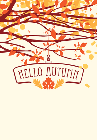 Vector banner with the words Hello autumn. Autumn landscape with autumn leaves on the branches of trees in a Park or forest