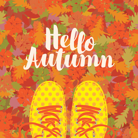 Autumn banner with the inscription Hello autumn and yellow shoes polka dot on the background of seamless texture of colorful autumn leaves. Vector illustration