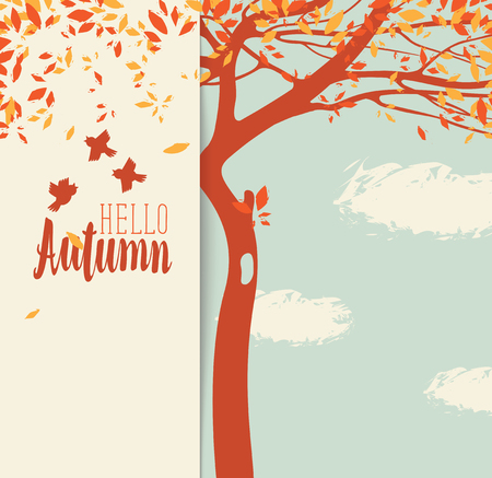 Vector banner with the inscription Hello autumn. Autumn landscape with yellow leaves on the branches of trees and birds in a Park or forest on a background of blue sky with clouds