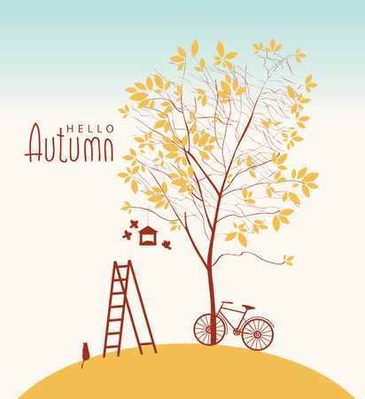 Vector banner with inscription Hello Autumn. Fall landscape with yellowed tree, bike, cat, birds, birdhouse and ladder Illustration