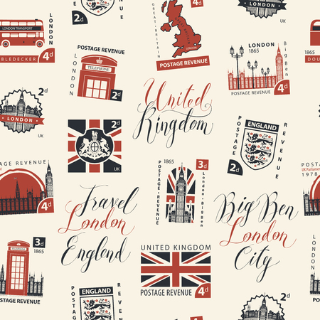 Vector seamless pattern with postage stamps and handwritten inscriptions on UK and London theme in retro style on light background. Can be used as wallpaper or wrapping paper Ilustrace