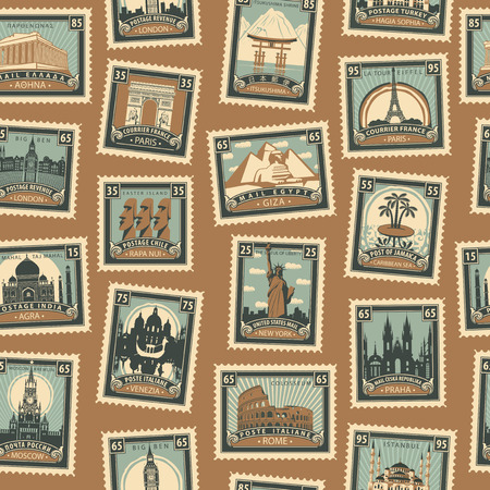 Retro Postage Seamless Background. Vector seamless pattern on the travel theme from different countries with postmarks and stamps in retro style. Can be used as wallpaper or wrapping paper