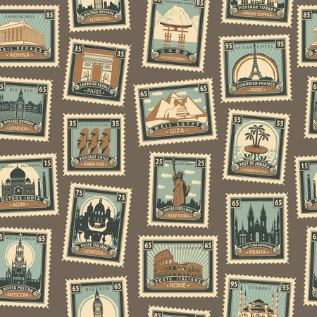 Retro Postage Seamless Background. Vector seamless pattern on the travel theme from different countries with postmarks and stamps in retro style. Can be used as wallpaper or wrapping paper Ilustrace