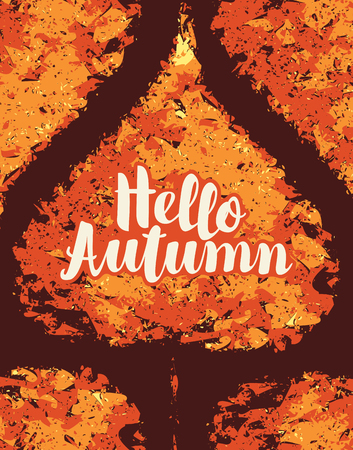 Vector banner with inscription Hello Autumn. Can be used for flyers, banners or posters. Vector illustration with yellowed autumn poplar leaves in grunge style