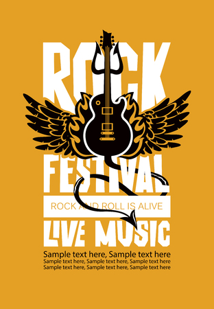 Vector poster or banner for Rock Festival of live music with an electric guitar, wings, fire, devil trident and place for text. Rock and roll is alive Illustration