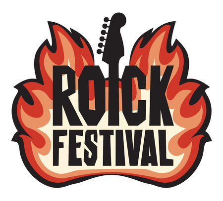 Music banner with electric guitar and words Rock Festival on fire. Vector illustration. Creative lettering for t-shirt design in modern style