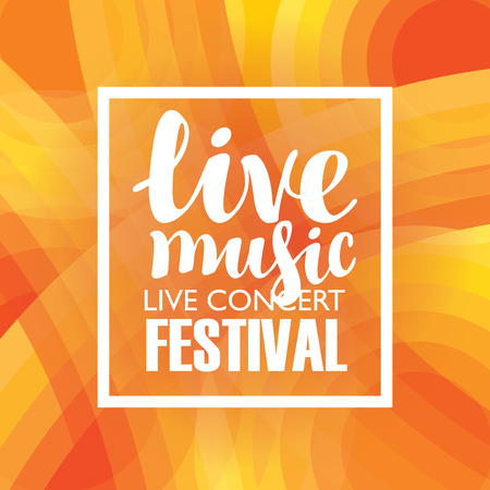 Vector music poster for a concert or festival of live music with calligraphic inscription on the colored background Vektorové ilustrace