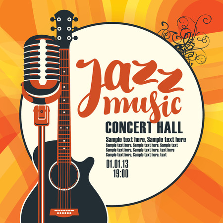Vector poster for a concert of jazz music with an acoustic guitar and a microphone on the colored background with place for text