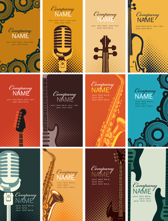 Vector set of twelve vertical business cards with musical instruments and other music equipment on bright colored backgrounds Vettoriali