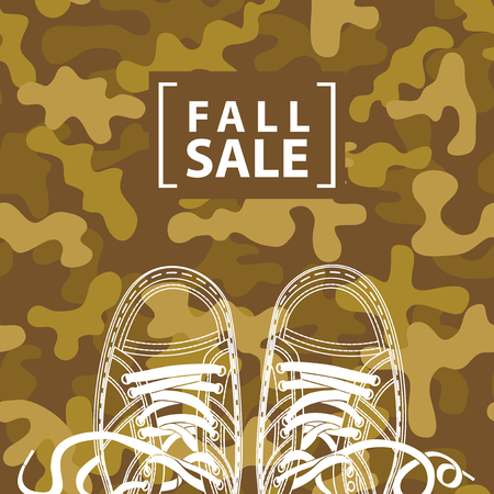 Vector banner with the words Fall sale and shoes on the background of military camouflage colors. Can be used for flyers, banners or posters Ilustração
