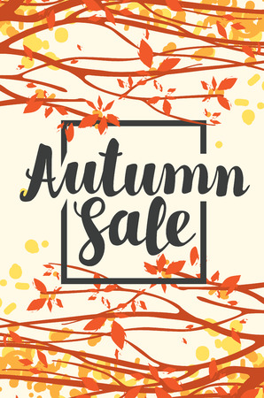 Vector banner with inscription Autumn sale. Autumn landscape with autumn leaves on the branches of trees in a Park or forest. Can be used for flyers, banners or posters.