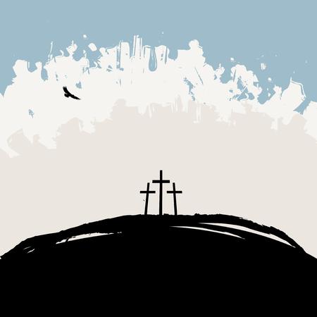 Vektorillustration auf christlichem Thema mit drei Kreuzen auf Berg Golgatha auf abstraktem Schmutzhintergrund