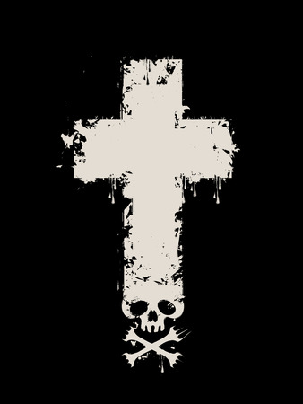 Vector illustration with grave cross with a skull and crossbones with the spray droplets on black background. Can be used for t-shirt design Illustration