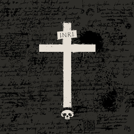 Vector sign of cross with a human skull and spray droplets on the background of manuscript with blots in grunge style. The inscription INRI
