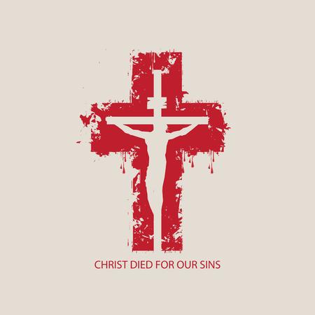 Illustration vectorielle sur le thème religieux avec Jésus-Christ crucifié sur le fond de la croix rouge abstraite avec les mots Christ est mort pour nos péchés.