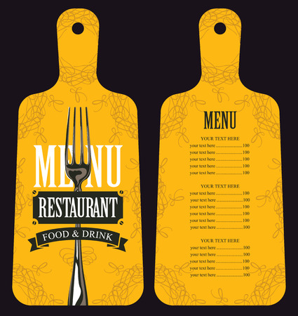 Vector template menu for restaurant with price list in form of wooden cutting board with a picture of fork in retro style