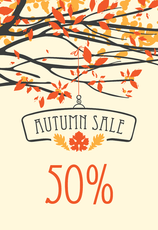 Vector banner with words Autumn sale. Autumn landscape with autumn leaves on the branches of trees in a Park or forest. Can be used for flyers, banners or posters.