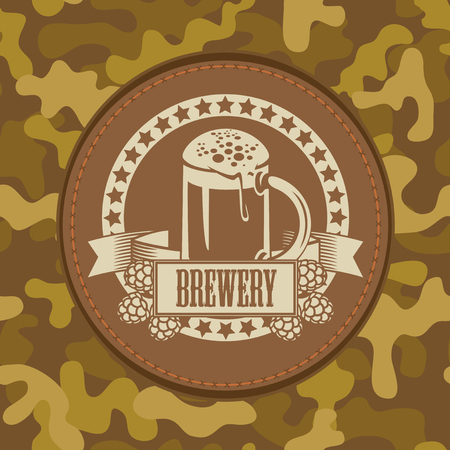 Vector banner for craft beer with a leather label depicting a full beer glass with hops on a background of camouflage fabric Çizim