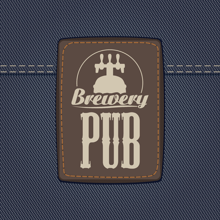 Vector banner for brewery or pub with a leather label depicting a beer barrel with faucet on a background of denim fabric