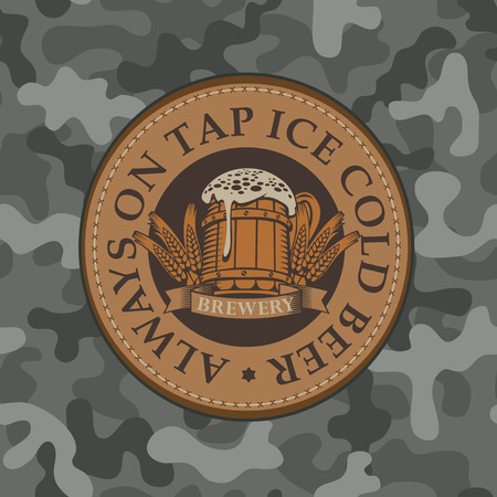 Vector banner for craft beer with a leather label depicting a full beer glass with ears of wheat on a background of camouflage fabric. Always on tap ice cold beer Çizim