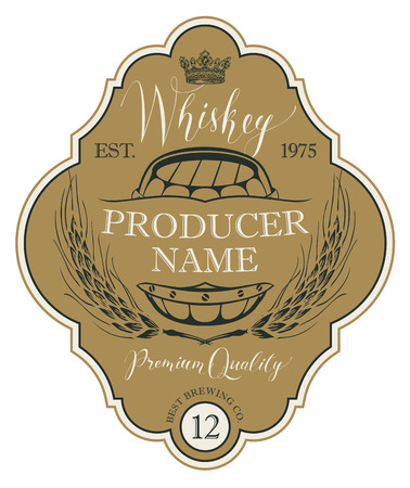 Vector label for whiskey in the figured frame with crown, ears of barley, wooden barrel and handwritten inscription in retro style